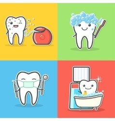 Set of cartoon teeth care and hygiene concepts vector