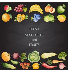 Set of watercolor vegetables and fruits vector