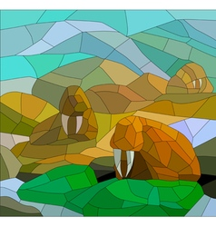 Stained glass with walruses vector