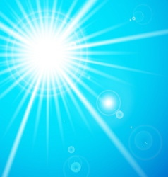 Star and sun with lens flare vector image vector image