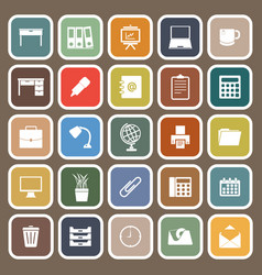 Workspace flat icons on brown background vector