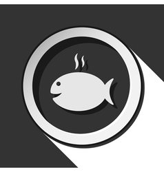 Icon - grilling fish with smoke and shadow vector