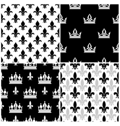 Crowns and fleur de lis seamless patterns vector