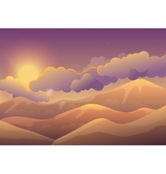 Mountains at sunset with color clouds Sunrise vector image