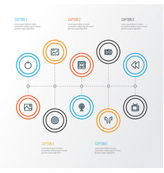 Music outline icons set collection of headphone vector