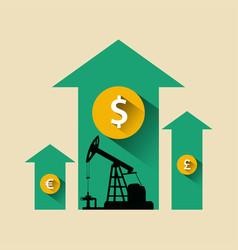 Oil industry concept oil price growing up arrow vector