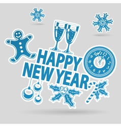 New year sticker vector