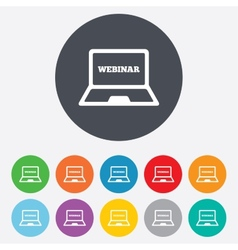 Webinar laptop sign icon notebook web study vector