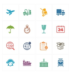 Logistics icons - colored series vector