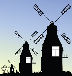 Windmill three in black vector