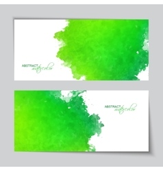 Abstract watercolor green banners vector
