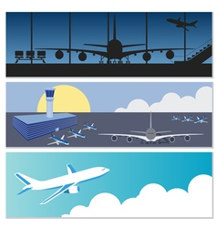Set of flying airplanes banners for your text vector