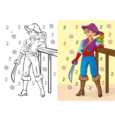 Coloring book of boy in pirate costume vector