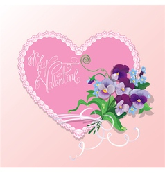 Bouquet of beautiful pansy and forget me not vector
