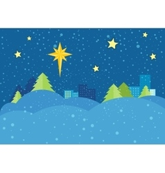Christmas Night Concept in Flat Design vector image