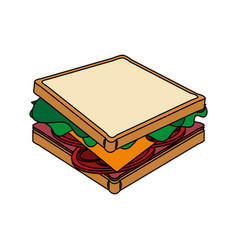 color image cartoon side view bread sandwich vector image