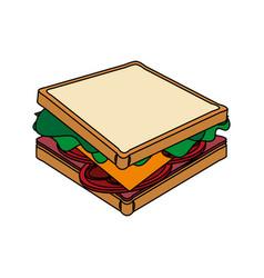Color image cartoon side view bread sandwich vector