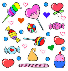 Colorful candy various doodle style vector
