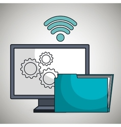 computer pc gear wifi vector image
