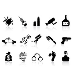 crime icons set vector image vector image