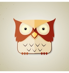 Cute little brown and light yellow cartoon owl vector image vector image