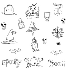 Doodle flat Halloween object vector image vector image