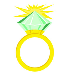 Flat icon green diamond ring vector
