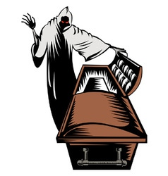 Grim Reaper Death Coffin Retro vector image