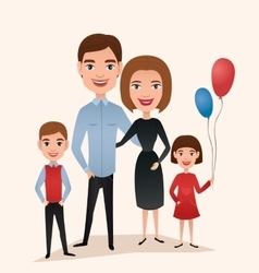 Happy family couple with children vector