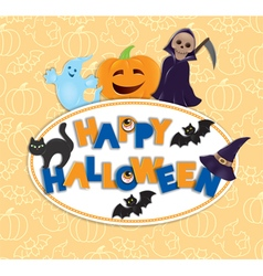 Happy Halloween round board vector image vector image