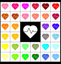 Heartbeat sign felt-pen 33 vector
