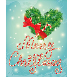 holiday greeting card with xmas candy and fir-tree vector image