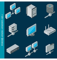 Internet and network equipment icons vector image vector image