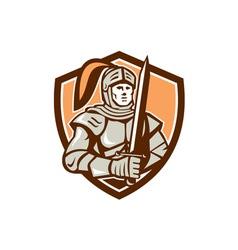 Knight full armor with sword shield retro vector