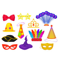 Masquerade carnival thematic party attributes flat vector