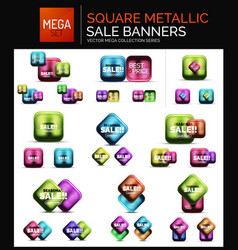 Mega set of square metallic sale buttons banners vector