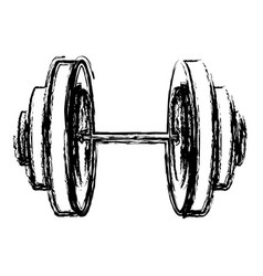 monochrome sketch of dumbbell icon vector image vector image