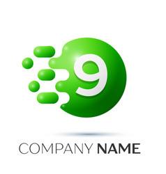 Number nine splash logo green dots and bubbles vector