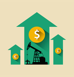 Oil industry concept oil price growing up arrow vector