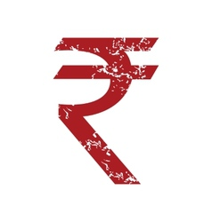Red grunge rupee logo vector