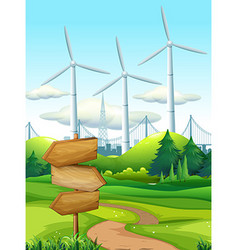 Scene with turbines in the field vector image vector image