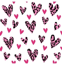 Seamless pattern with leopard hearts trendy vector
