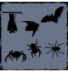 set of spiders and bats vector image vector image