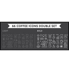 Set of thin and bold coffee elements and coffee vector