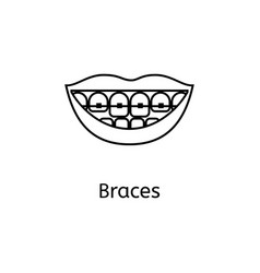 teeth braces line icon isolated on white vector image