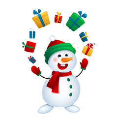 The christmas snowman juggles with gifts vector