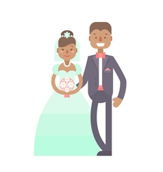 Wedding couple flat characters groom and bride vector