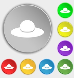 Woman hat icon sign Symbol on eight flat buttons vector image