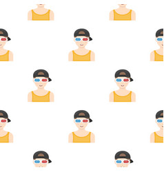 Young man watching movie in 3d glasses films and vector