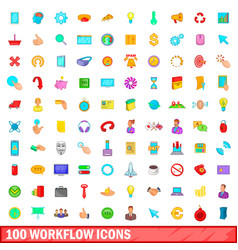 100 workflow icons set cartoon style vector